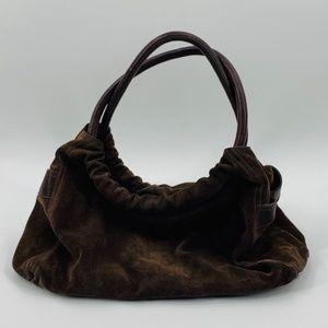 Furla Chocolate Brown Suede Leather Shoulder Bag